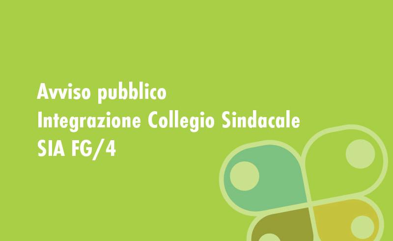 AVVISO PUBBLICO - INTEGRAZIONE COLLEGIO SINDACALE SIA FG/4
